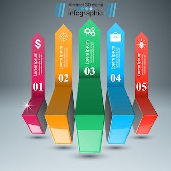 Estilo de origami de infográficos de negócios