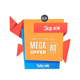 Estilo de origami de mega oferta de vendas