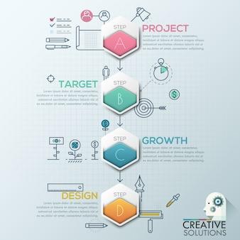 Estilo de origami de polígono de infográficos de negócios