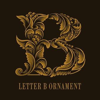 Estilo de ornamento vintage do logotipo da letra b
