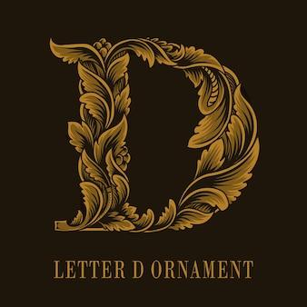 Estilo de ornamento vintage do logotipo da letra d