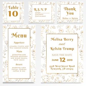 Estilo de ouro branco de cartão rsvp de convite de casamento