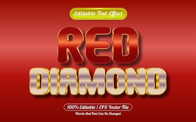 Estilo de ouro e diamante com efeito de texto editável