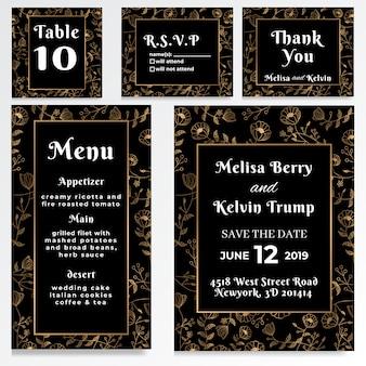 Estilo de ouro escuro de cartão rsvp de convite de casamento
