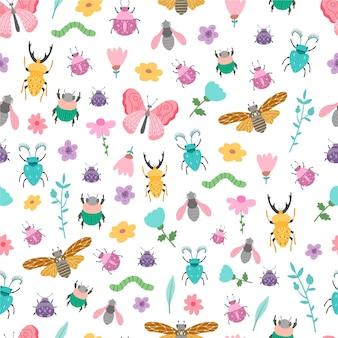 Estilo de padrão de insetos e flores