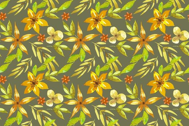 Estilo de padrão floral em aquarela