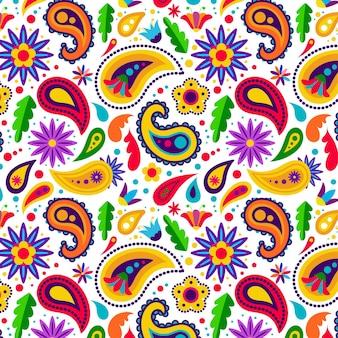 Estilo de padrão paisley colorido