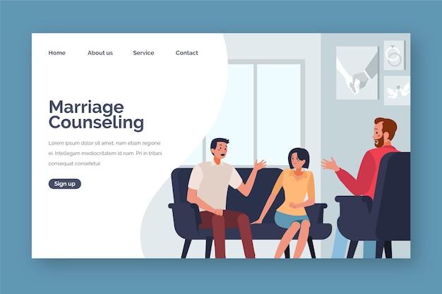 Estilo de página de destino de aconselhamento matrimonial