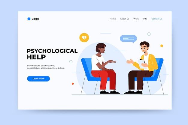 Estilo de página de destino de ajuda psicológica