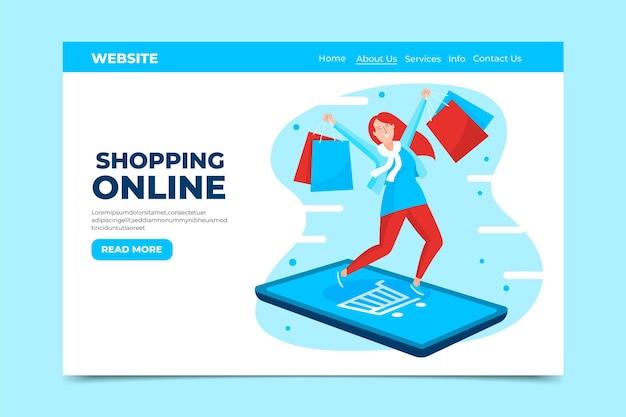Estilo de página de destino de compras on-line de design plano