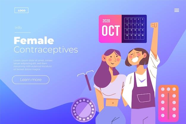 Estilo de página de destino de contraceptivos femininos