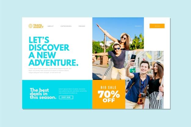 Estilo de página de destino de venda de viagens