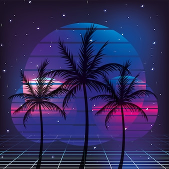 Estilo de palmas retrô dos anos 80 com fundo gráfico