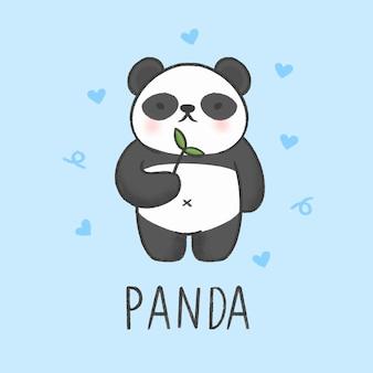 Estilo de panda bonito dos desenhos animados mão desenhada