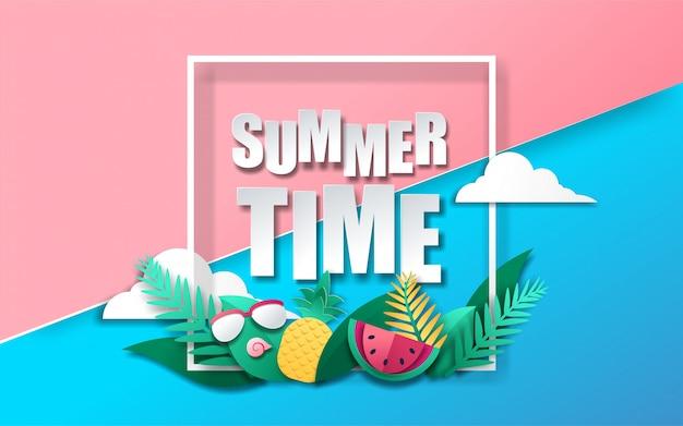 Estilo de papel de banner de horário de verão