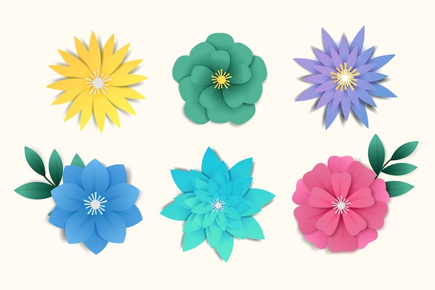 Estilo de papel de coleção de flores de primavera colorida
