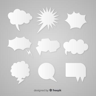 Estilo de papel de coleção discurso bolha plana