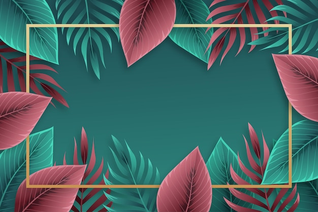 Estilo de papel de parede de folhas tropicais