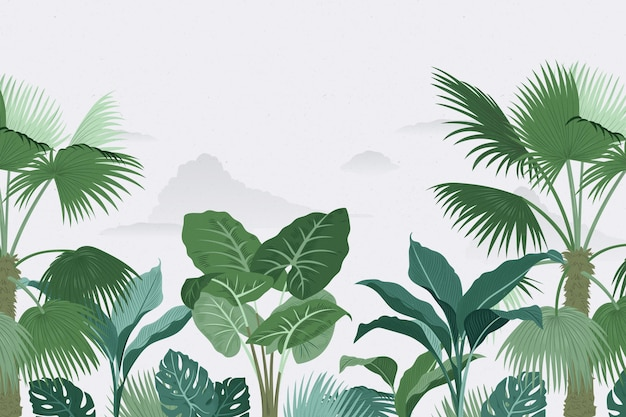 Estilo de papel de parede mural tropical