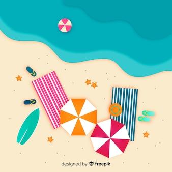 Estilo de papel de vista superior de praia