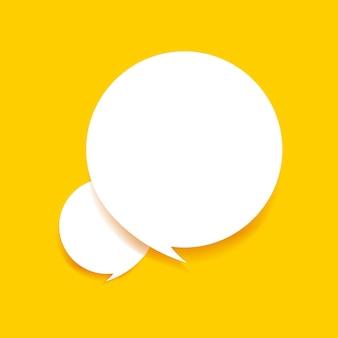 Estilo de papel do discurso de bolha em fundo amarelo