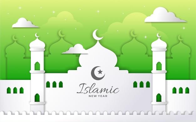 Estilo de papel feliz ano novo islâmico com camada de mesquita