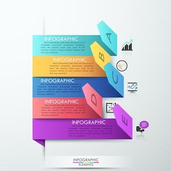 Estilo de papel moderno seta passo faixa de opções