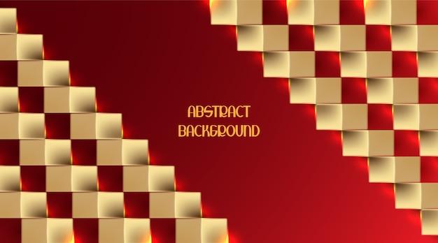 Estilo de papel ouro 3d em fundo vermelho