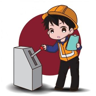 Estilo de personagem de desenho animado bonito engenheiro.