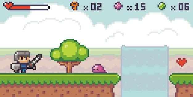 Estilo de pixel art, personagem no jogo de arcade