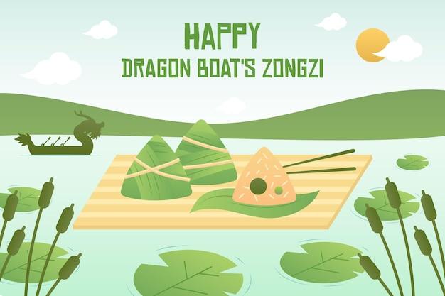 Estilo de plano de fundo do dragão barcos zongzi