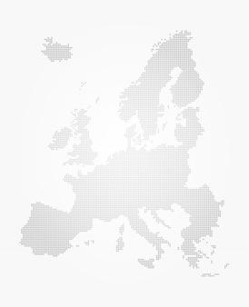 Estilo de ponto de mapa da europa em fundo gradiente cinza