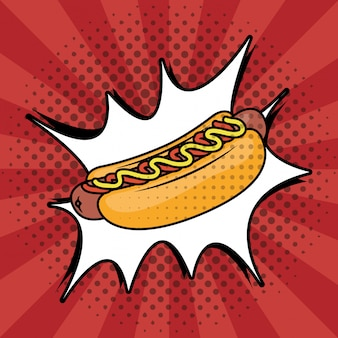 Estilo de pop art de cachorro-quente fast-food