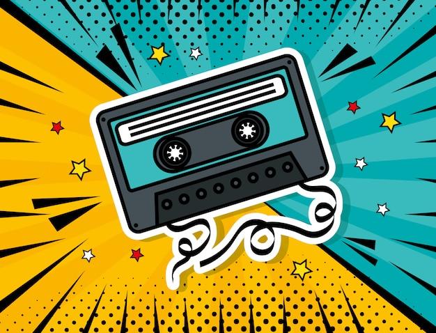 Estilo de pop art de cassete de música