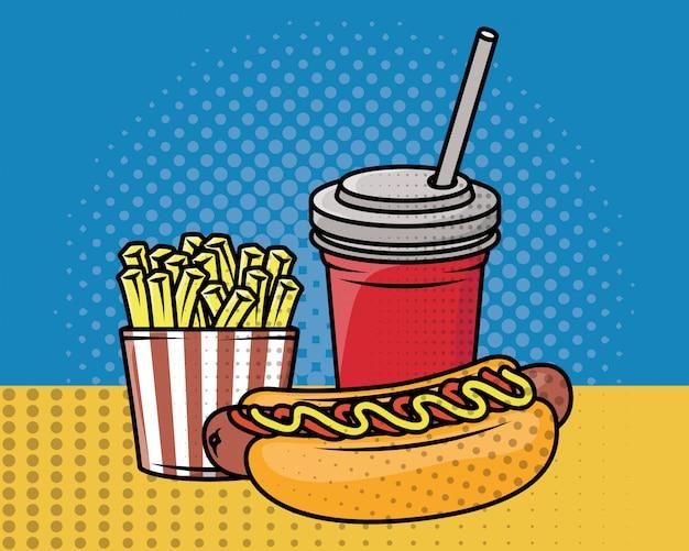 Estilo de pop art de fast-food