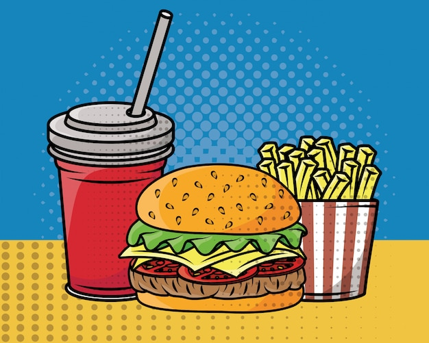 Estilo de pop art de fast-food