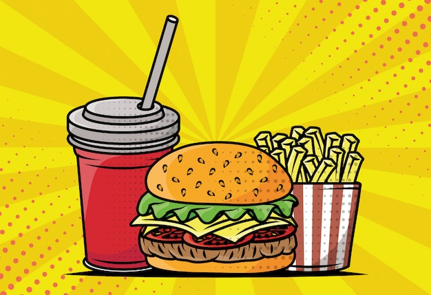 Estilo de pop art delicioso fast-food