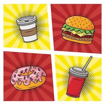 Estilo de pop art delicioso fast-food