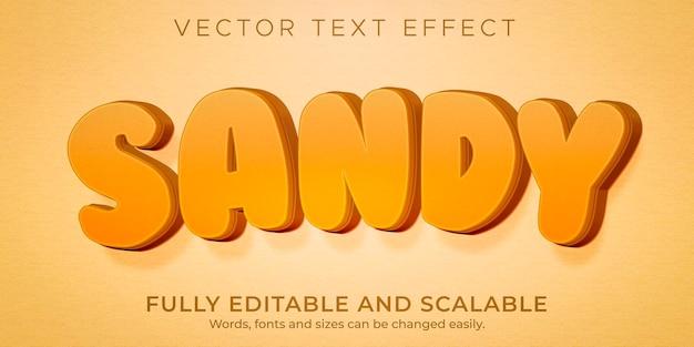 Estilo de praia e ilha editáveis com efeito de texto de verão arenoso