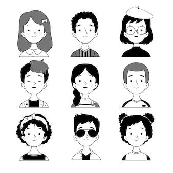 Estilo de preto e branco de avatares de pessoas