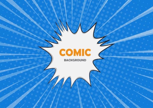 Estilo de quadrinhos com explosão branca. fundo de meio-tom em quadrinhos de bolha de fala