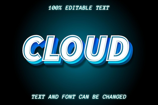 Estilo de relevo de efeito de texto editável na nuvem