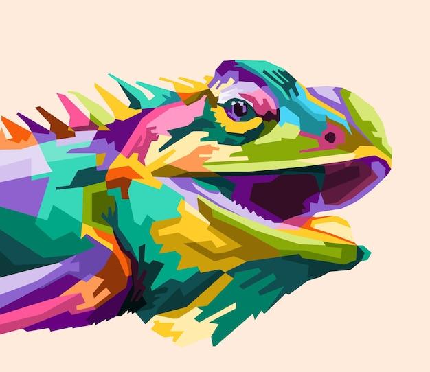 Estilo de retrato de iguana pop art colorido isolado decoração design de cartaz pronto para imprimir