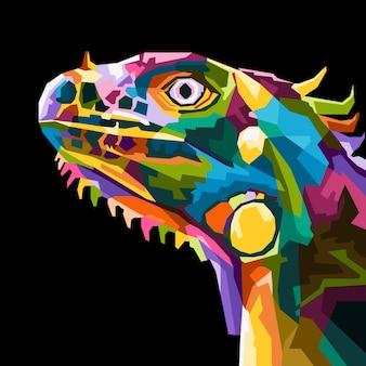 Estilo de retrato de iguana pop art colorido isolado decoração design de cartaz