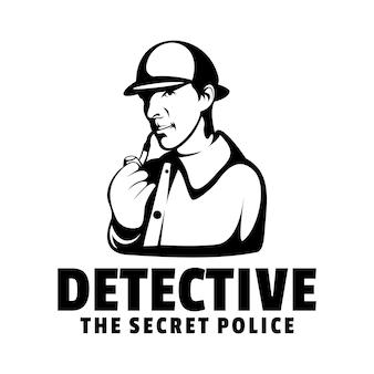 Estilo de silhueta de detetive de ilustração de logotipo.