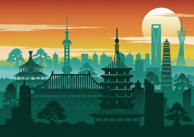 Estilo de silhueta de marco famoso de china