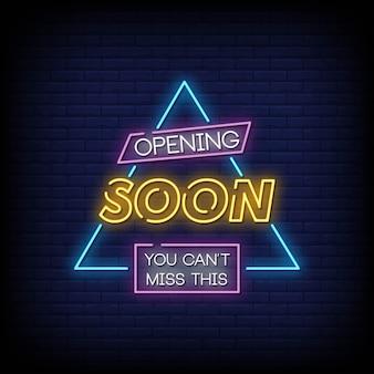 Estilo de sinais de néon de abertura em breve