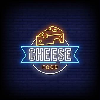 Estilo de sinais de néon de comida de queijo