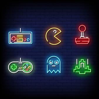 Estilo de sinais de néon de símbolo de jogo retrô