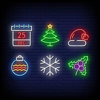 Estilo de sinais de néon de símbolo de natal